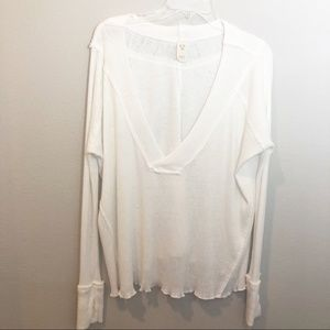 We the Free V neck ribbed long sleeve top